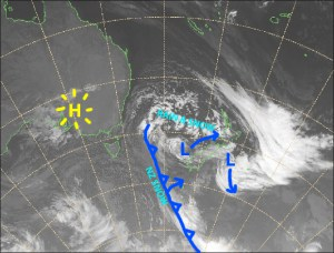 The Antarctic Express is on its way. Snow tomorrow (Tuesday) will be the first of several snowfall events over the next week or so. Source: NZ MetService (Vandalised by the Grasshopper)