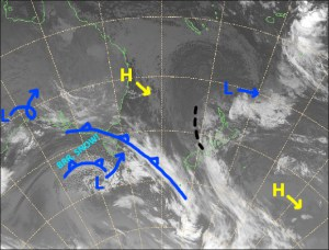 Mild northerlies continue through Thursday, but that low near Tasmania will turn things 180° on Friday. Source: NZ Metservice (Vandalised by the Grasshopper)