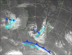 Mild northerlies are almost over folks. Once that low in the Tasman Sea passes over country, we'll flip into a much colder airflow, with little bit of snow on Friday night. Source: NZ Metservice (Vandalised by the Grasshopper)