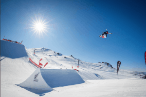 Nico Porteous on his way to winning the big air today. Photo: Ross Mackay