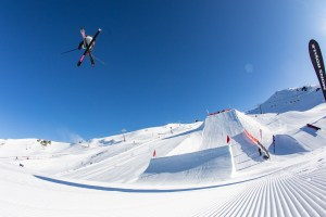 Margaux Hackett, in the Obsidian Big Air at Cardrona. Photo: Winter NZ Games/Neil Kerr