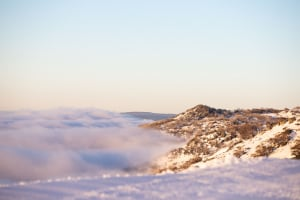 A thick bank of cloud sitting below 1800metres in Thredbo this morning. Photo: Jimmy Williams