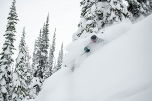 Coen, back on snow in Revelstoke a couple of months after his accident. Photo: Tony Harrington