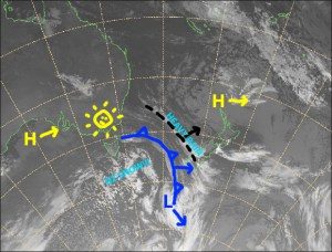 The cold front about to cross the South Island will see good snowfalls to low levels later today through until early Wednesday. Source: NZ MetService (Vandalised by the Grasshopper)