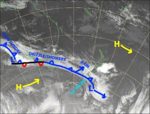 Wind and mixed precip will make way for high quality, fluffy powder later today as a cold front sweeps up the South Island. Source: NZ MetService (Vandalised by the Grasshopper)