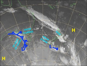 Light flurries today before that cold front & low to the west dump 20-30cm over Aussie resorts Friday and Saturday. Source: Metservice.com (vandalised by the Grasshopper)