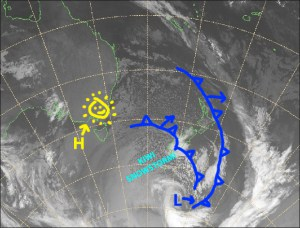 Antarctica is sending New Zealand plenty of love with an icy snowstorm that is bringing snow to village level. Wednesday and Thursday are the days to hit it with mostly fine, settled conditions. Source: NZ MetService (Vandalised by the Grasshopper)
