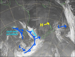 Strong, damp northwesterlies today as the first of many weak cold fronts approach from the west. Source: Metservice.com (vandalised by the Grasshopper)