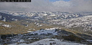 Perisher's snow cam in Guthega showing patchy conditions on the Maon Range this morning. That will change with snow due this week.