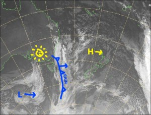 It'll be fine, but breezy over the next few days as high pressure slides by the north. A slow moving front will bring rain on Monday. Source: Metservice.com (vandalised by the Grasshopper)