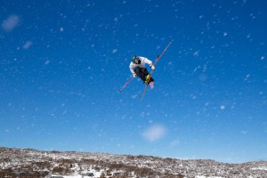 Cameron Waddell, Australian slopestyle team skier, flying high in Perisher. Photo: Jimmy Williams