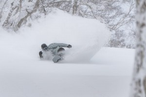Evan Willcox, living the dream in Niseko this week. Photo: Toshi Pander