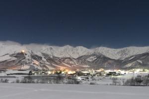 The Northern Alps providing a spectacular backdrop in Hakuba