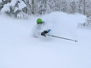 James Ross, a cloud a pow at Kamui ski links. Photo: Nadine Robb