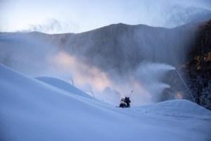 Snowmakers doing the job in Thredbo on Monday morning.Photo: Thredbo