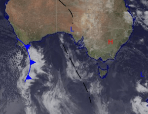 The low that was responsible for the wild weather experienced by the southeast of the country has moved offshore into the Tasman. Looking ahead we can see the front over southern WA expected to hit the alps Wednesday. Source: Bureau of Meteorology (vandalised by the Grasshopper).