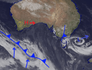 Flurries over the southeast Friday and Saturday, but the High pressure in WA moves over and takes control Sunday bringing a Sunny start to next week. Source: Bureau of Meteorology (vandalized by the Grasshopper