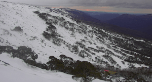 The clouds moving in at Thredbo this morning.It's going to be a wet day with rain expected top high elevations over the next 24 hours.