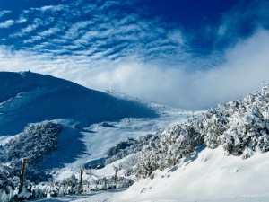 Pre-front clouds moving in at Mt Buller yesterday afternoon. Photo: Nick Reeves