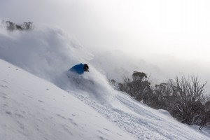 Richie Carroll, fun in the freshies int Thredbo last weekend when the  storm gave us a taste of what winter can deliver.Just need negative IOD for more of this. Photo: Boen Ferguson