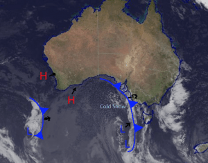 Today's synoptic situation with the cold front approaching from the west. This cold front and the associated Low pressure to the south is bringing the cold snowy conditions predicted for the weekend. Source: Bureau of Meteorology (vandalised by the Grasshopper)