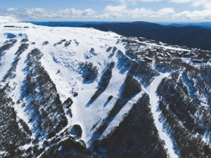 A great shot of Mt Buller yesterday with a bumped out Bull Run and plenty of snow. With all Australian resorts closed, for this who live in the mountains it's case of earn your turns this weekend. Photo: Tony Harrington