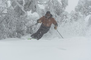 Pete Forras, loving the powder in Bulelr during the second July storm. Photo: