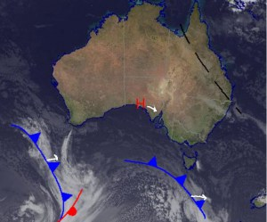 The synoptic today is a little boring with the high pressure pictured over South Australia having a firm hold on conditions. Two fronts below us will be pushed along south of the country as a result of this high. Source: Bureau of Meteorology (vandalised by the Grasshopper).