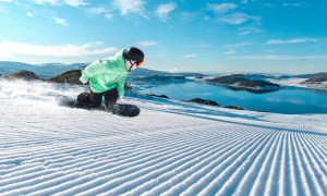 Carving the corduroy with a view in Falls Creek