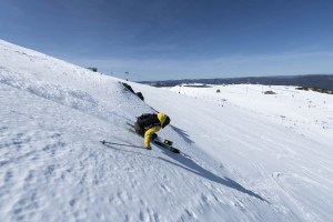 Hannes Grimus enjoying his essential exercise in the spring snow in Buller late last week. Photo: Tony Harrington