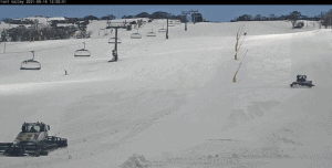 The groomers on Front valley this afternoon preparing for the re-opening.