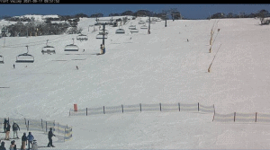 A peel out on Perisher's Front Valley this morning, the resort has six lifts open today