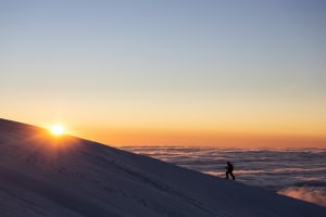 Arc'teryx AU Backcountry Spring Touring ski trip to Mount Feathertop and Mount Bogong in Victoria, Australia. Skier Drew Jolowicz and Mountain Safety Collective's Simon Murray. Picture: Dylan Robinson